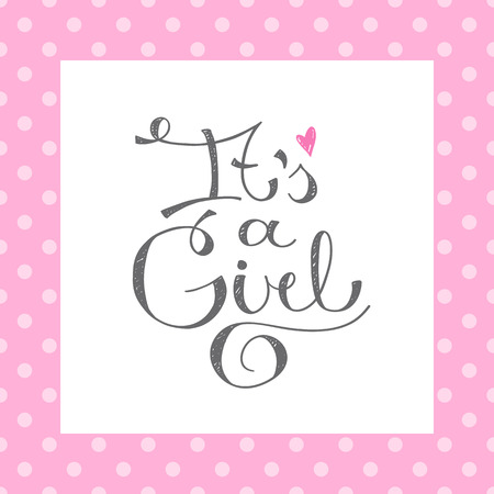 it's: its a girl, vector text for baby shower card