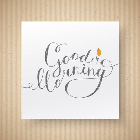 fluted: good morning lettering, vector handwritten text with flower