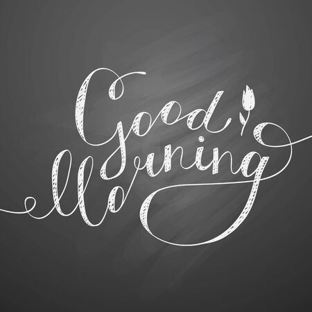 chalkboard: good morning lettering, vector handwritten text with flower