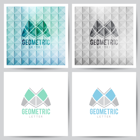 corporative: geometric , stylized letter M on white and on abstract backgrounds of triangles Illustration