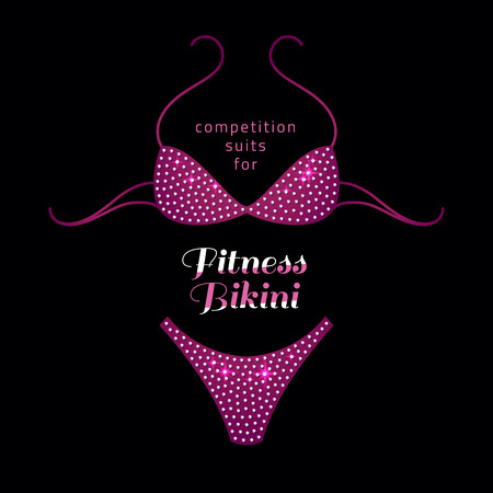 jewels: fitness bikini competition suit with rhinestones on black background