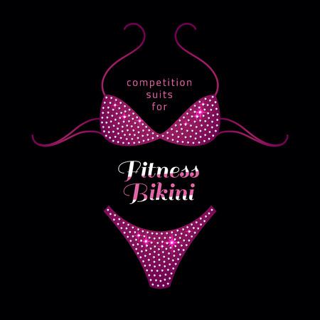 remise en forme bikini compétition costume avec strass sur fond noir Vecteurs