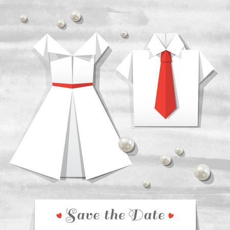 woman white shirt: origami wedding invitation, vector card with pearls, paper dress and shirt on watercolor background Illustration