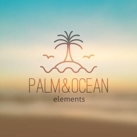 logotipo de verano para la agencia de viajes o un hotel. Palma, ondas, isla y gaviotas en el fondo marino realista