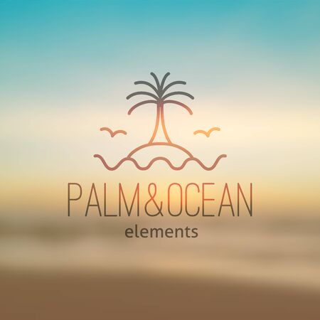 resort: summer logo for travel agency or hotel. Palm, waves, island and seagulls on realistic seascape background Illustration