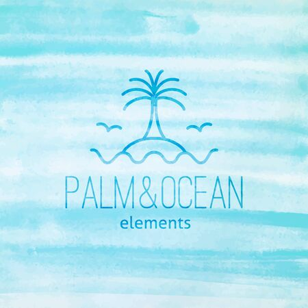 seagulls: summer logo for travel agency or hotel. Palm, seagulls, island and waves on watercolor background Illustration