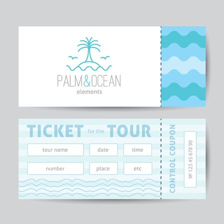 single line: Ticket template with logo for travel agency. palm, seagulls, island and waves, single line design