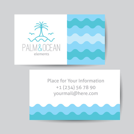 single line: Business card template for travel agency. Palm, seagulls, island and waves, single line design