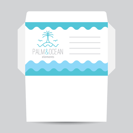 seagulls: Envelope template for travel agency. Palm, seagulls, island and waves, single line design Illustration