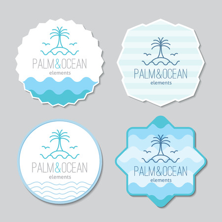 single line: stickers templates set for travel agency. Palm, seagulls, island and waves, single line design