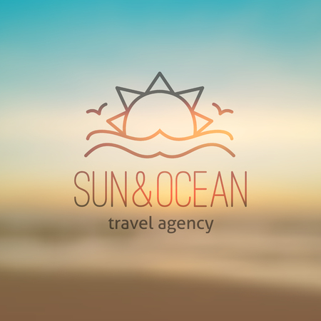 summer logo for travel agency or hotel. Sun, waves and seagulls on realistic seascape background