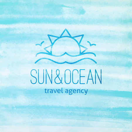 summer logo for travel agency or hotel. Sun, waves and seagulls on watercolor background