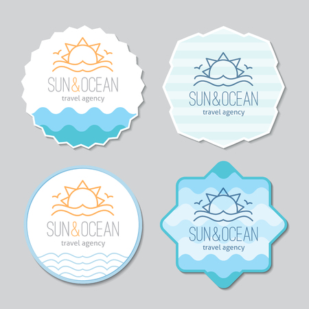 seagulls: stickers templates set for travel agency. Sun, waves and seagulls, single line design Illustration
