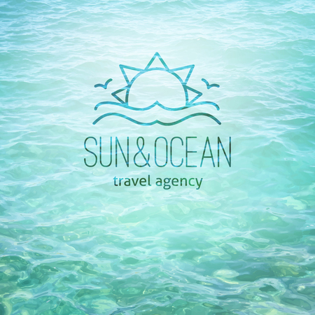 water waves: summer logo for travel agency or hotel. Sun, waves and seagulls on realistic water background