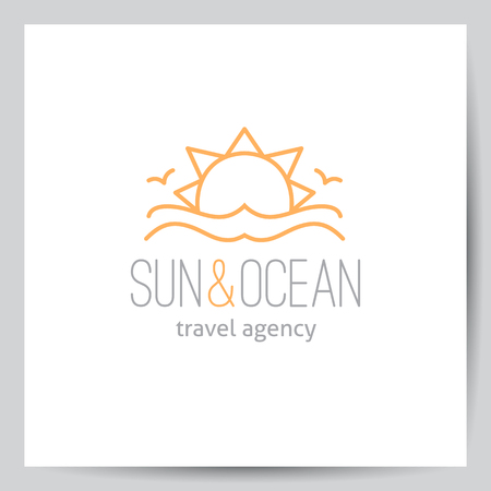 seagulls: summer logo for travel agency or hotel. Sun, waves and seagulls on white background, single line design