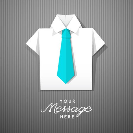 ties: white origami shirt with tie,  template for business layouts Illustration