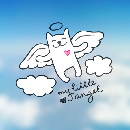 angel cat: cat angel in the sky, cute hand drawn illustration