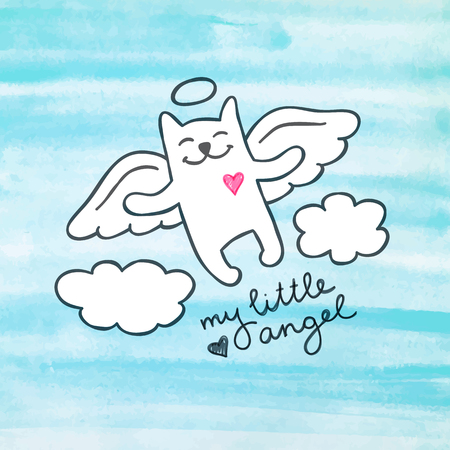 hand drawn: cat angel in the sky, cute hand drawn illustration