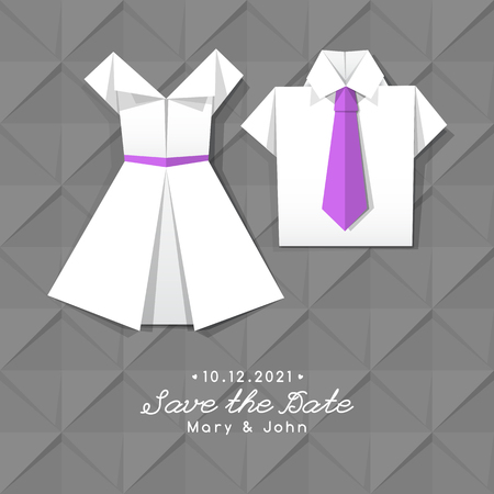 to bend: vector origami dress and shirt, wedding invitation template