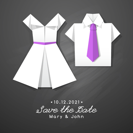 wedding dress: vector origami dress and shirt, wedding invitation template