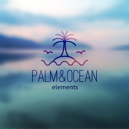 coast: logo of palm on island and waves, vector template for travel agency