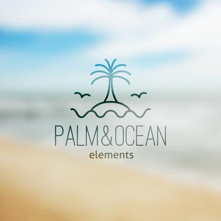 logo de palme sur l'île et des vagues, modèle vectoriel pour agence de Voyage