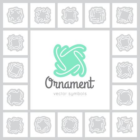 set of vector ornate symbols and frames, vintage design elements Illustration