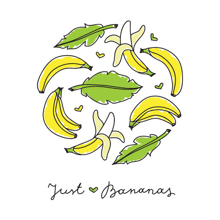 fruit and veg: vector circle composition of hand drawn bananas and leaves on white Illustration