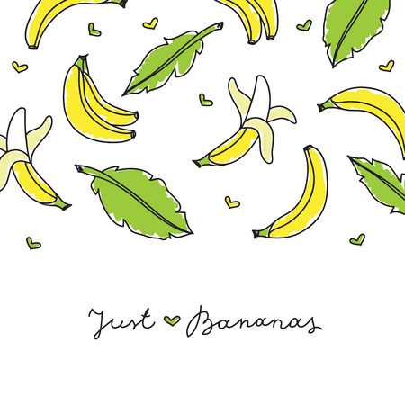 veg: vector hand drawn bananas and leaves on white