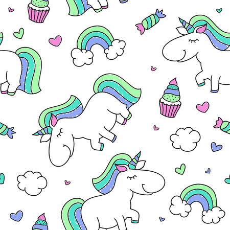 rainbow clouds: vector seamless pattern of cartoon cute unicorn with rainbow, clouds and sweets Illustration