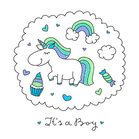 rainbow clouds: vector cartoon cute unicorn with rainbow, clouds and sweets Illustration