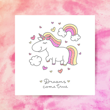 come: vector cartoon cute unicorn with rainbow, clouds and hearts, dreams come true lettering