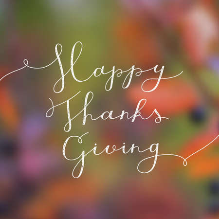 happy thanksgiving lettering, vector handwritten text for greeting cards Illustration