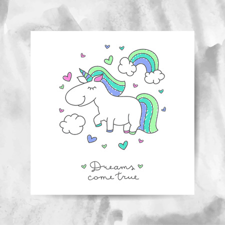white clouds: vector cartoon cute unicorn with rainbow, clouds and hearts, dreams come true lettering