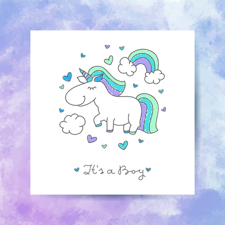 its: vector cartoon cute unicorn with rainbow, clouds and hearts, its a boy lettering Illustration