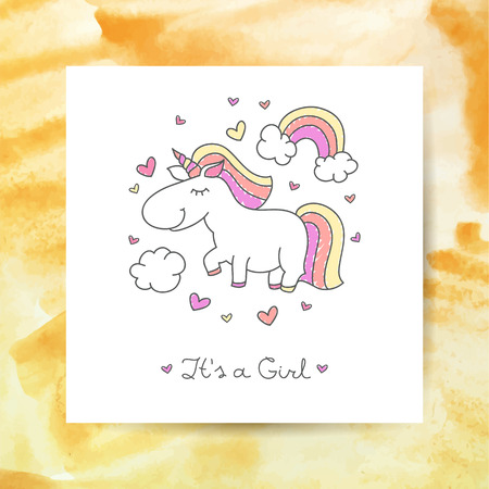 its: vector cartoon cute unicorn with rainbow, clouds and hearts, its a girl lettering