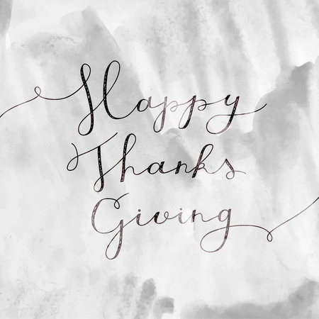 paiting: happy thanksgiving lettering, vector handwritten text for greeting cards Illustration