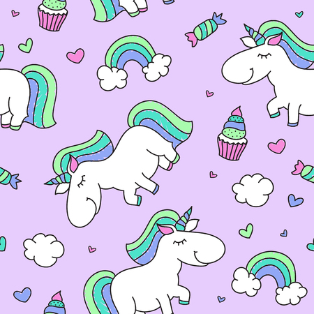 purple heart: vector seamless pattern of cartoon cute unicorn with rainbow, clouds and sweets Illustration