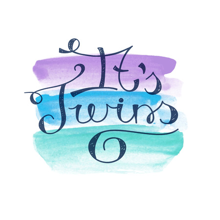 its: its twins, vector lettering for baby shower card, handwritten text Illustration