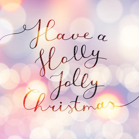 violeta: tener una navidad alegre del acebo, letras vector, texto escrito a mano en el fondo borroso con luces