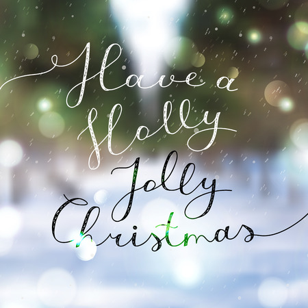 winter background: have a holly jolly christmas, vector lettering, handwritten text on blurred winter background with snowfall