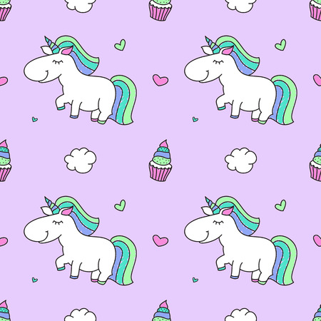 vector seamless pattern of cartoon cute unicorns with clouds and cakes