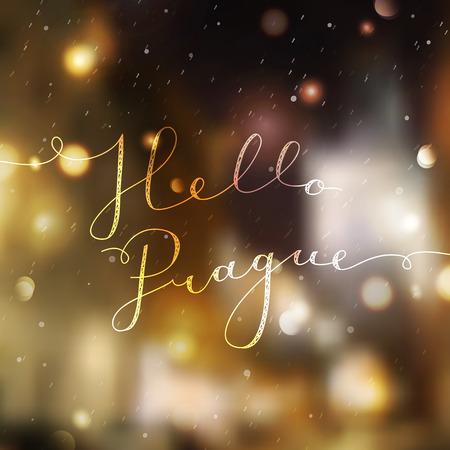 czech: hello prague text, vector lettering on blurred realistic prague landscape