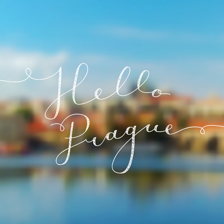 hello prague text, vector lettering on blurred realistic prague landscape