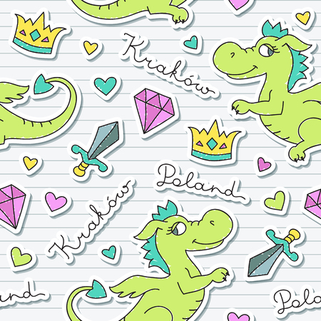 krakow: vector cute cartoon dragon, symbol of krakow, seamless pattern for souvenirs
