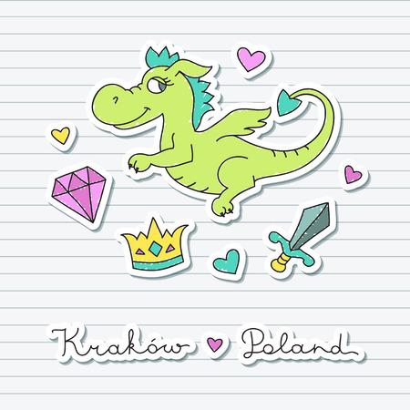 adamant: vector cute cartoon dragon, symbol of krakow, design elements for souvenirs Illustration