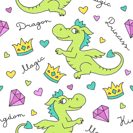 cute cartoon girl: vector seamless pattern of cute cartoon dragons, texture for fabric print, souvenirs, babys products design