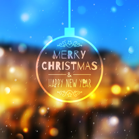 merry christmas and happy new year, vector blurred background of prague view and snowfall