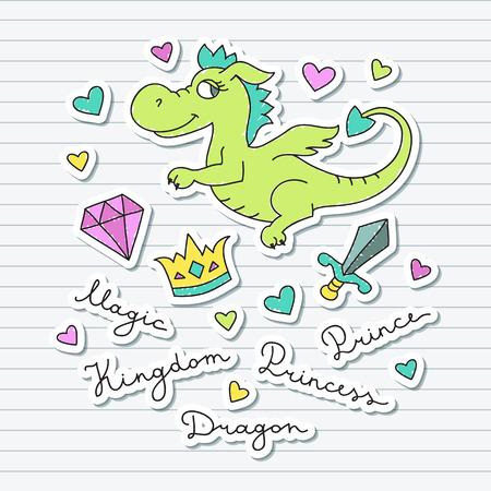 digital scrapbooking: vector cute cartoon dragon, crown, diamond, sword, hearts and letterings, elements set for design, souvenirs or digital scrapbooking Illustration