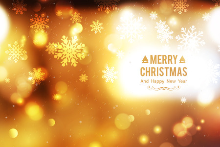 text year: vector blurred christmas background with lights and snowflakes, merry christmas and happy new year text